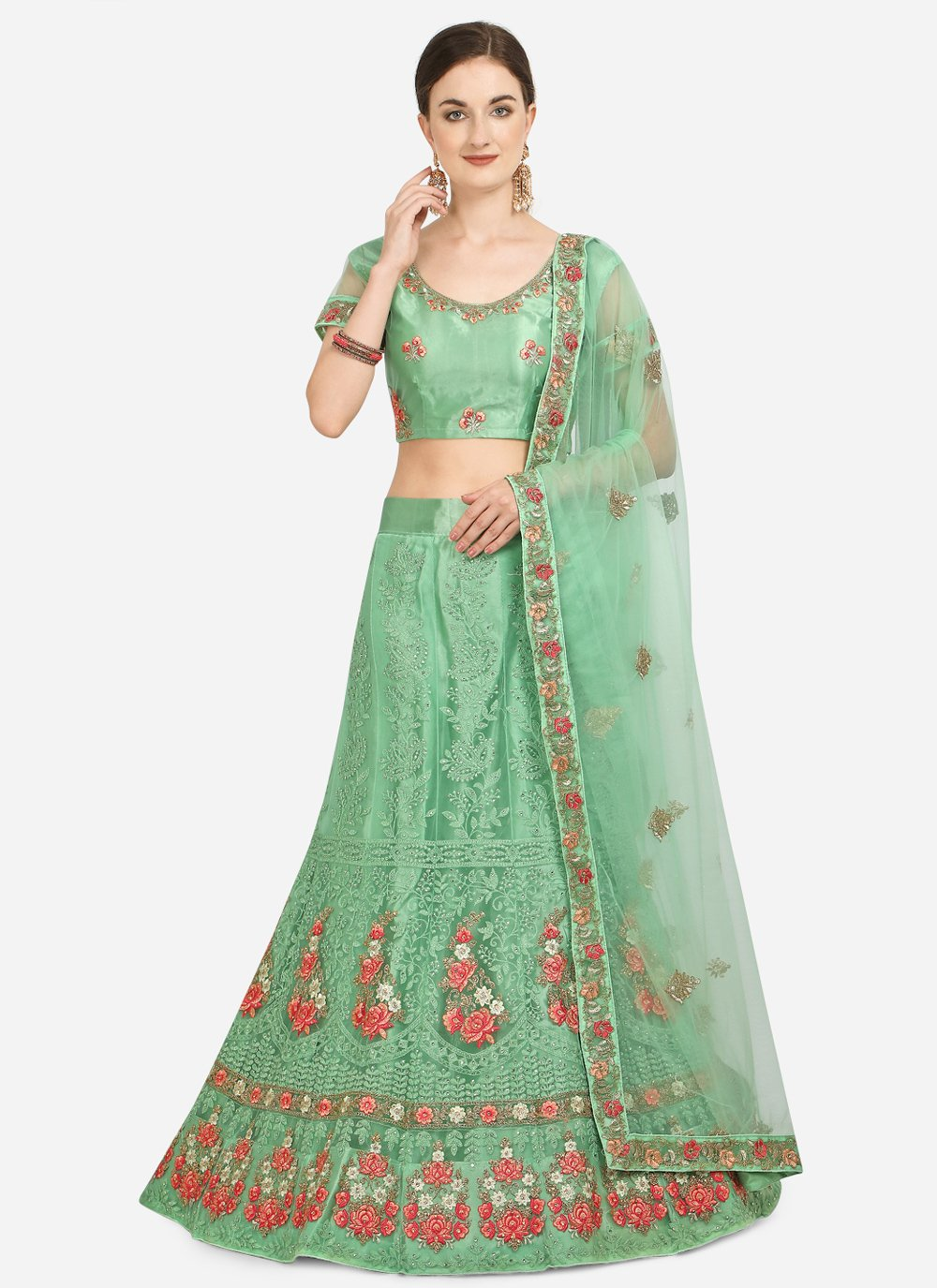 Net Sea Green Embroidered A Line Lehenga Choli