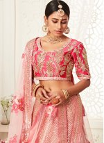 Net Sequins Bollywood Lehenga Choli in Pink