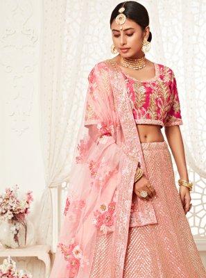 Net Sequins Bollywood Lehenga Choli in Pink