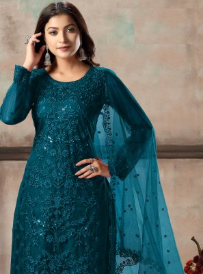 Net Sequins Churidar Designer Suit in Teal