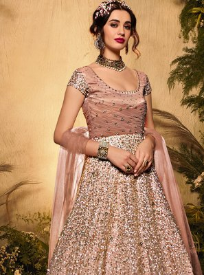 Net Sequins Designer Floor Length Suit in Pink