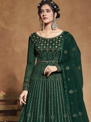 Net Sequins Green Floor Length Anarkali Suit