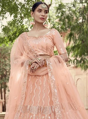 Net Sequins Peach Lehenga Choli