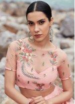 Net Sequins Pink Lehenga Choli