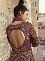 Net Sequins Purple Pant Style Suit