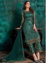 Net Teal Designer Pakistani Suit
