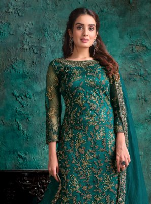 Net Teal Designer Pakistani Suit