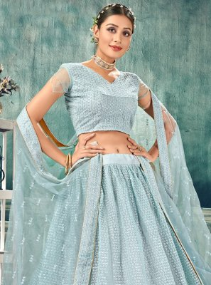 Net Thread Blue Lehenga Choli