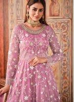 Net Thread Floor Length Designer Suit in Pink