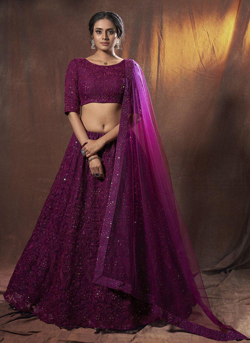 Net Thread Purple Lehenga Choli