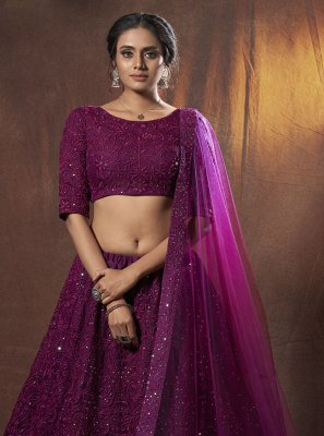 Net Thread Purple Lehenga Choli