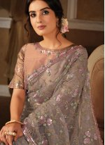 Net Trendy Saree in Grey and Pink