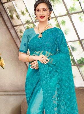 Net Turquoise Designer Saree