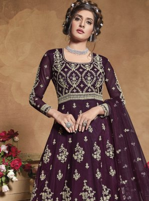 Net Wine Fancy Floor Length Anarkali Suit