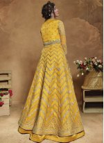 Net Yellow Floor Length Anarkali Suit