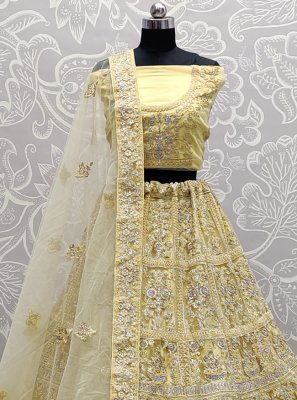 Net Yellow Thread Work A Line Lehenga Choli