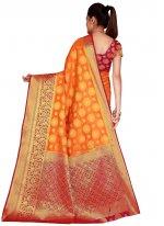 Nylon Bollywood Saree in Orange
