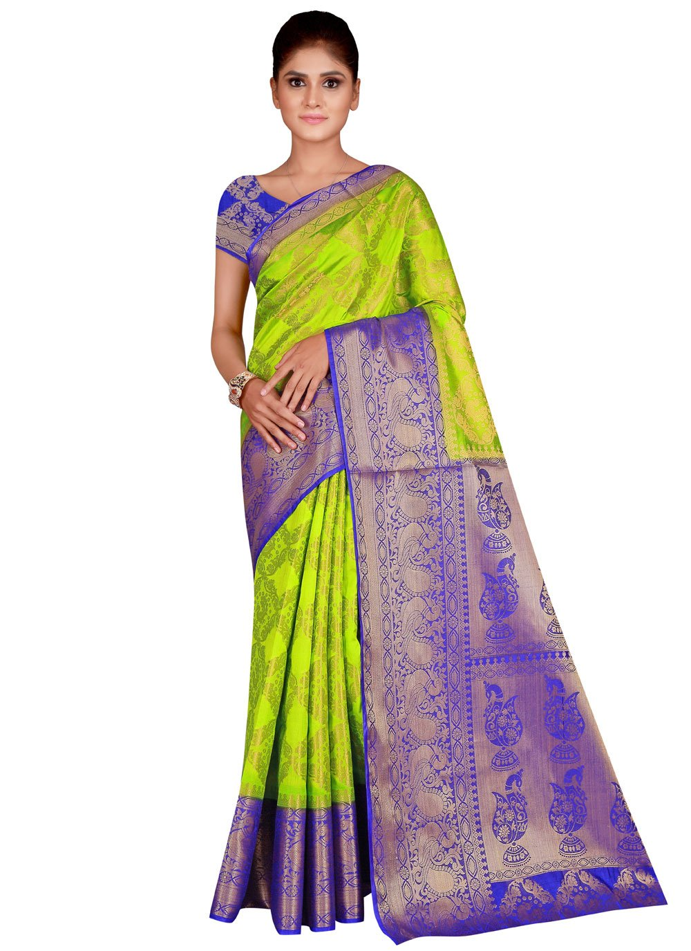 Nylon Green Traditional Saree