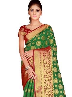 Nylon Sea Green Bollywood Saree