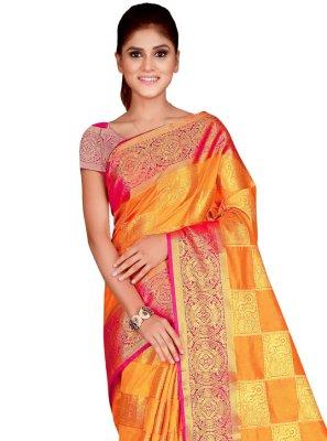 Nylon Traditional Saree in Multi Colour
