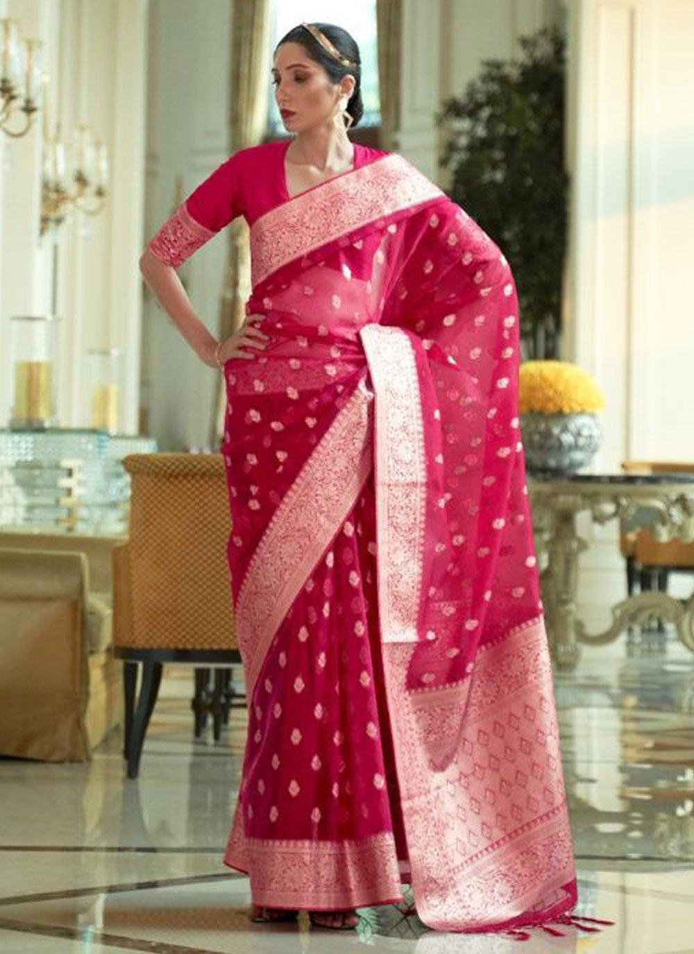 Nylon Woven Rani Traditional Designer Saree