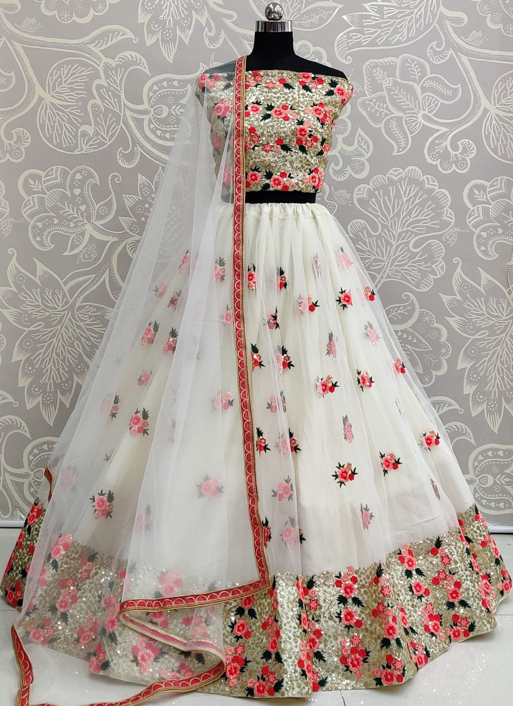 Off White A Line Lehenga Choli