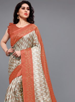 Off White and Orange Printed Printed Saree