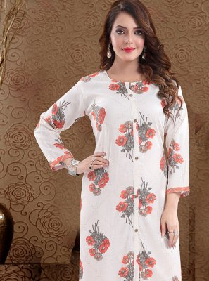 Off White and Peach Print Rayon Party Wear Kurti