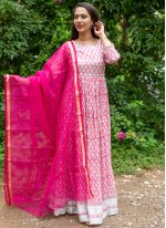 Off White and Pink Festival Linen Readymade Suit