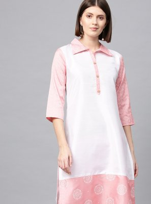 Off White and Pink Poly Silk Designer Kurti