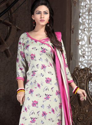 Off White and Pink Print Festival Punjabi Suit