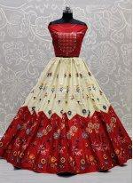 Off White and Red Color Lehenga Choli