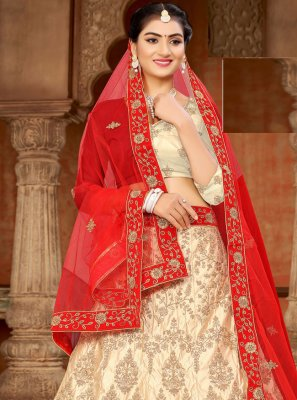 Off White and Red Sangeet Satin Lehenga Choli