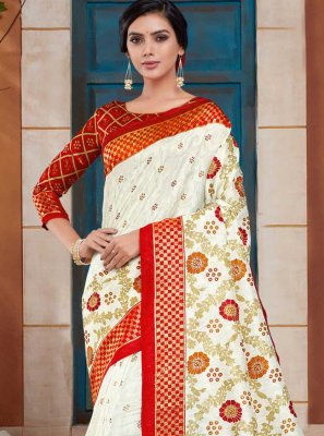 Off White and Red Woven Classic Designer Saree