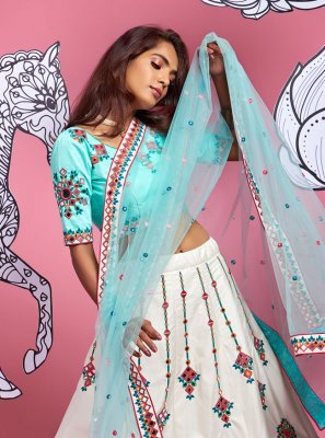 Off White and Turquoise Engagement A Line Lehenga Choli