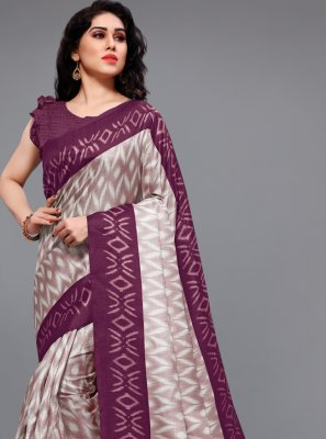 Off White and Wine Khadi Silk Printed Saree