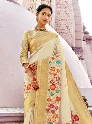 Off White Banarasi Silk Designer Traditional Saree