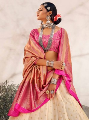 Off White Banarasi Silk Lehenga Choli