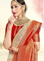 Off White Ceremonial Art Banarasi Silk Traditional Saree