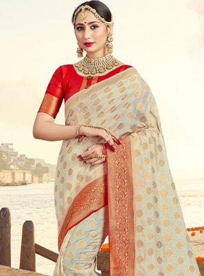 Off White Ceremonial Art Banarasi Silk Traditional Saree
