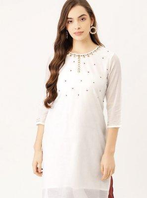 Off White Chanderi Fancy Party Wear Kurti