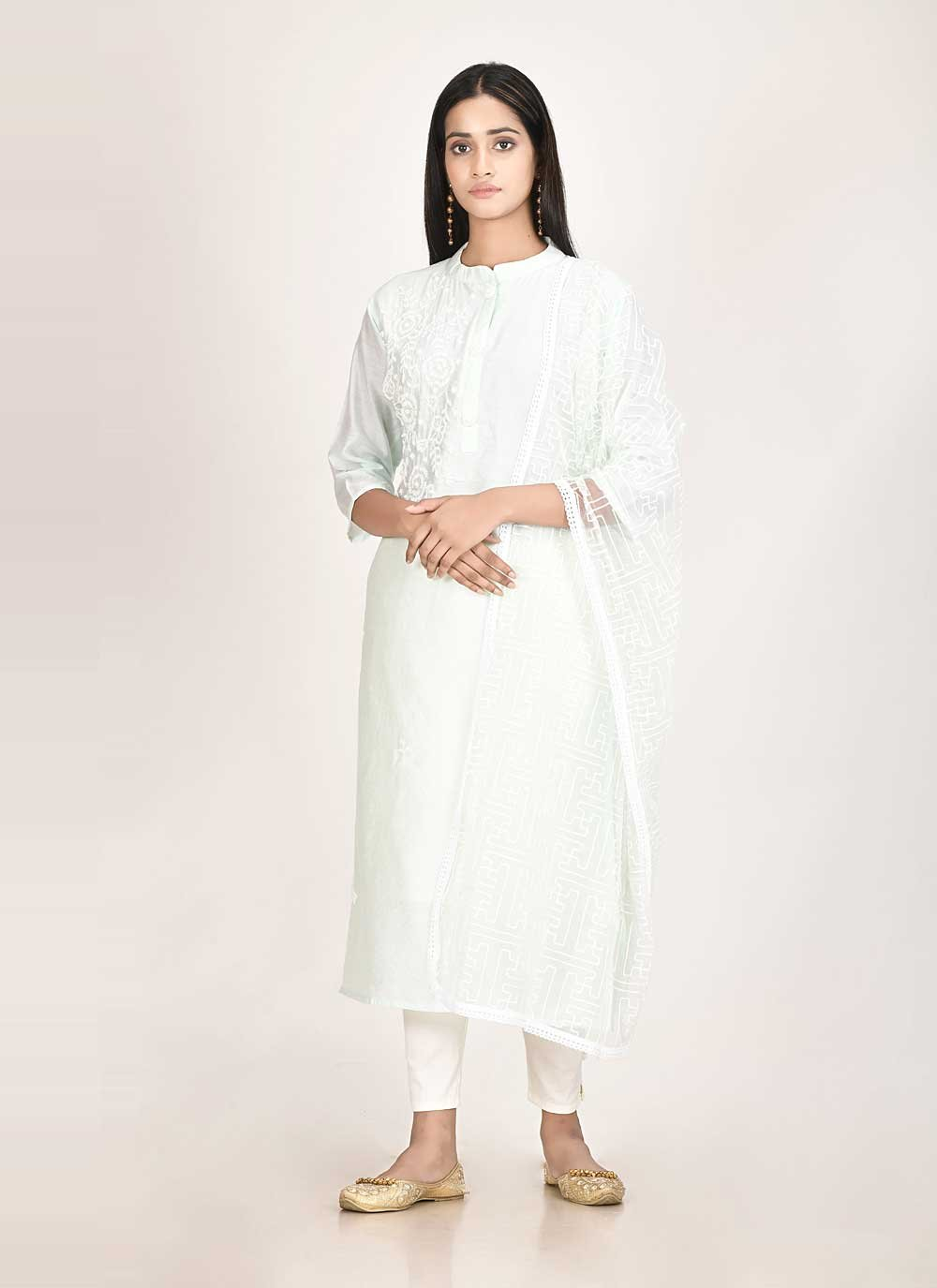 Off White Chanderi Fancy Readymade Suit