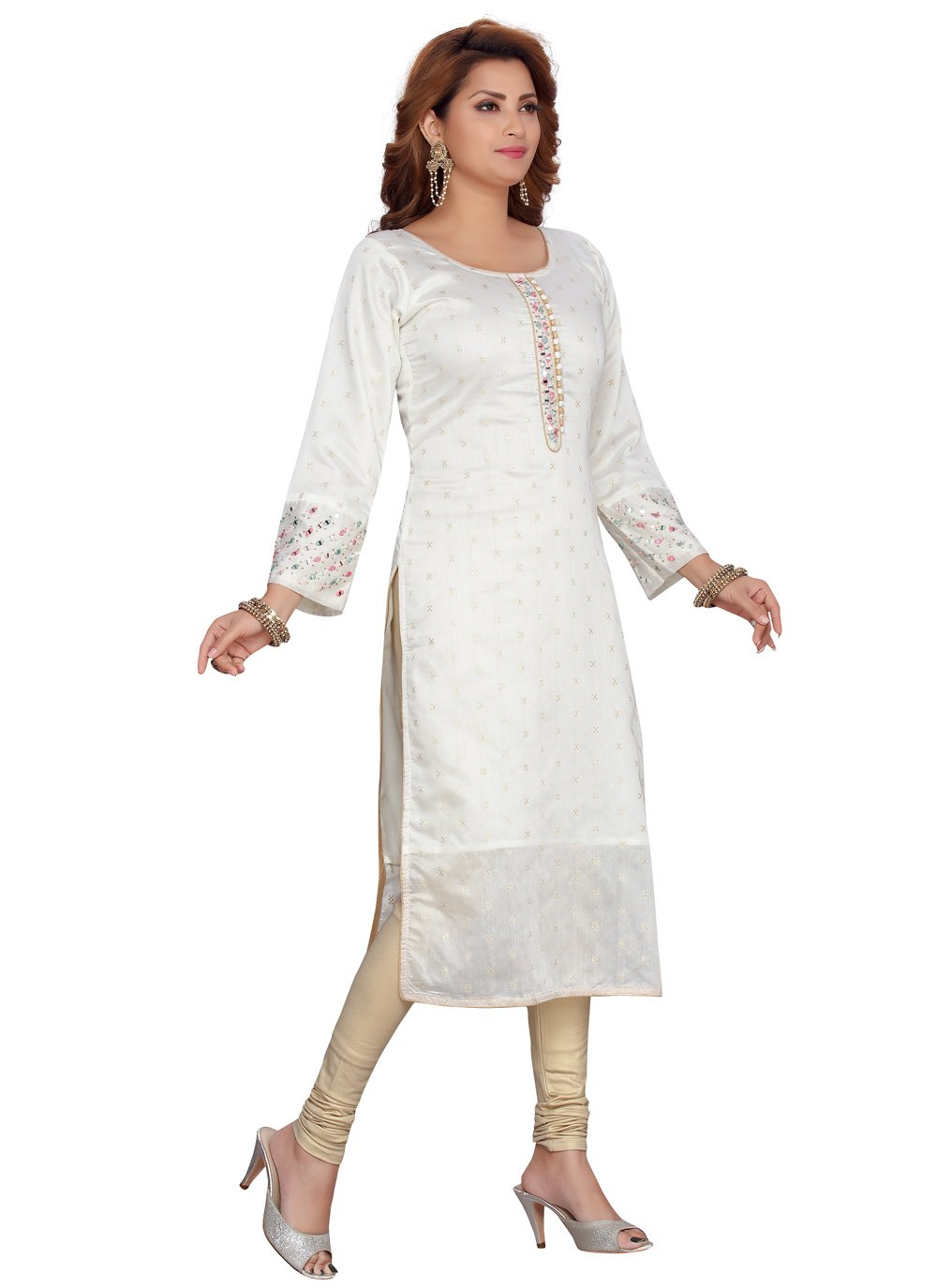 Off White Chanderi Party Wear Kurti