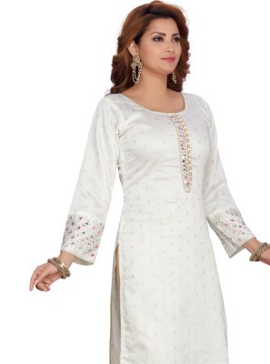 Off White Chanderi Party Wear Kurti