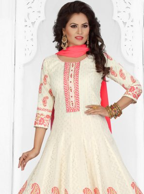 Off White Chanderi Readymade Suit
