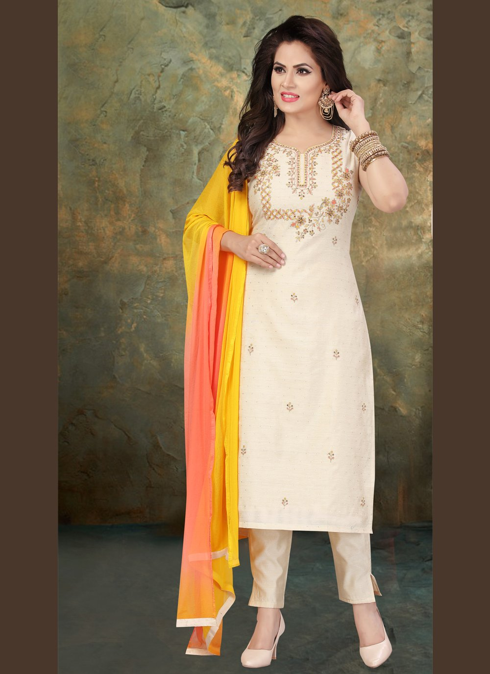 Off White Chanderi Sangeet Readymade Suit
