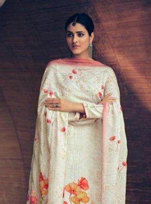 Off White Color Designer Palazzo Salwar Kameez