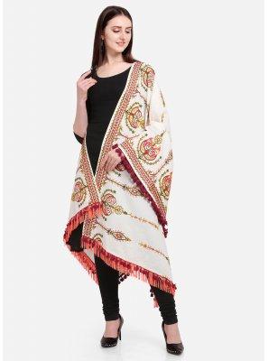 Off White Cotton Designer Dupatta