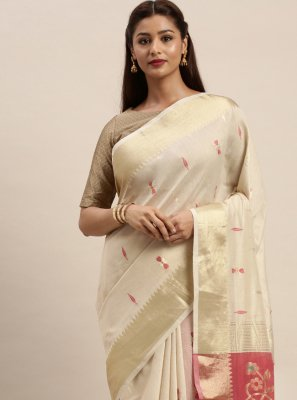 Off White Cotton Designer Traditional Saree