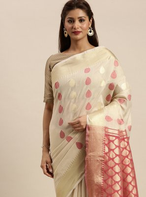 Off White Cotton Festival Designer Traditional Saree